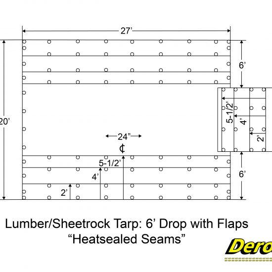 Lumber-Sheetrock Tarp 6 Drop with Flaps Heatsealed Seams-01